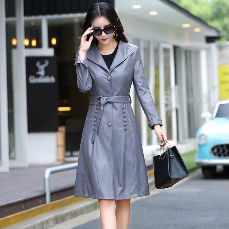 2017 Autumn   Leather   Jacket Women New Coat Female Fashion Solid Turn Collar Single Breasted Button Belt Decoration Women's Jacket