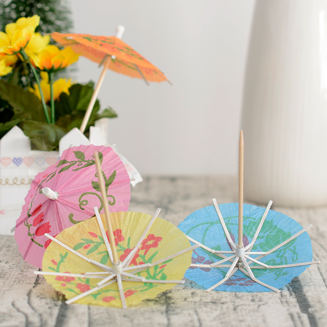50pcs New Paper Drink Cocktail Parasols Umbrellas Luau Sticks Tropical Hawaiian Party Wedding Umbrella Decoration