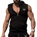 Mens GymShark Muscle Hoodie Hooded Vest Singlets Tank Tops Stringer Bodybuilding Fitness Sleeveless Zipper Tees Vest