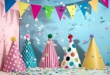 Laeacco Baby Birthday Party Flags Ribbons Hat Celebration Portrait Photo Background Photography Backdrop Photocall Photo Studio birthday background birthday celebration banner photography backdrop photo studio backdrops for baby photos150x210cm thin vinyl