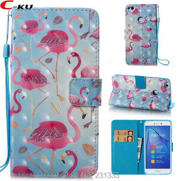 C-ku 3D Bling Strap Flip Wallet PU Leather Pouch For LG Stylus 3 LS777 Stand ID Card Flower Flamingo <font><b>Unicorn</b></font> Butterfly Skin 1PCS