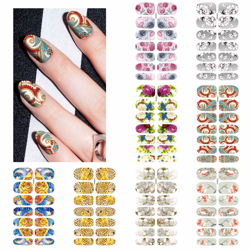 ZKO 1 Sheet Optional Fashion Nails Art Water Transfer Foil Wraps Leopard 3D Flower Mystery Galaxies Style Nail Sticker Decals 3d content transfer