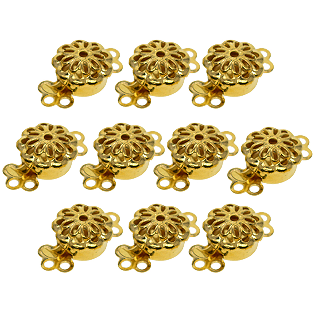 10Pcs Flower Jewelry Push Clasps Connector for Bracelet Necklace Hook