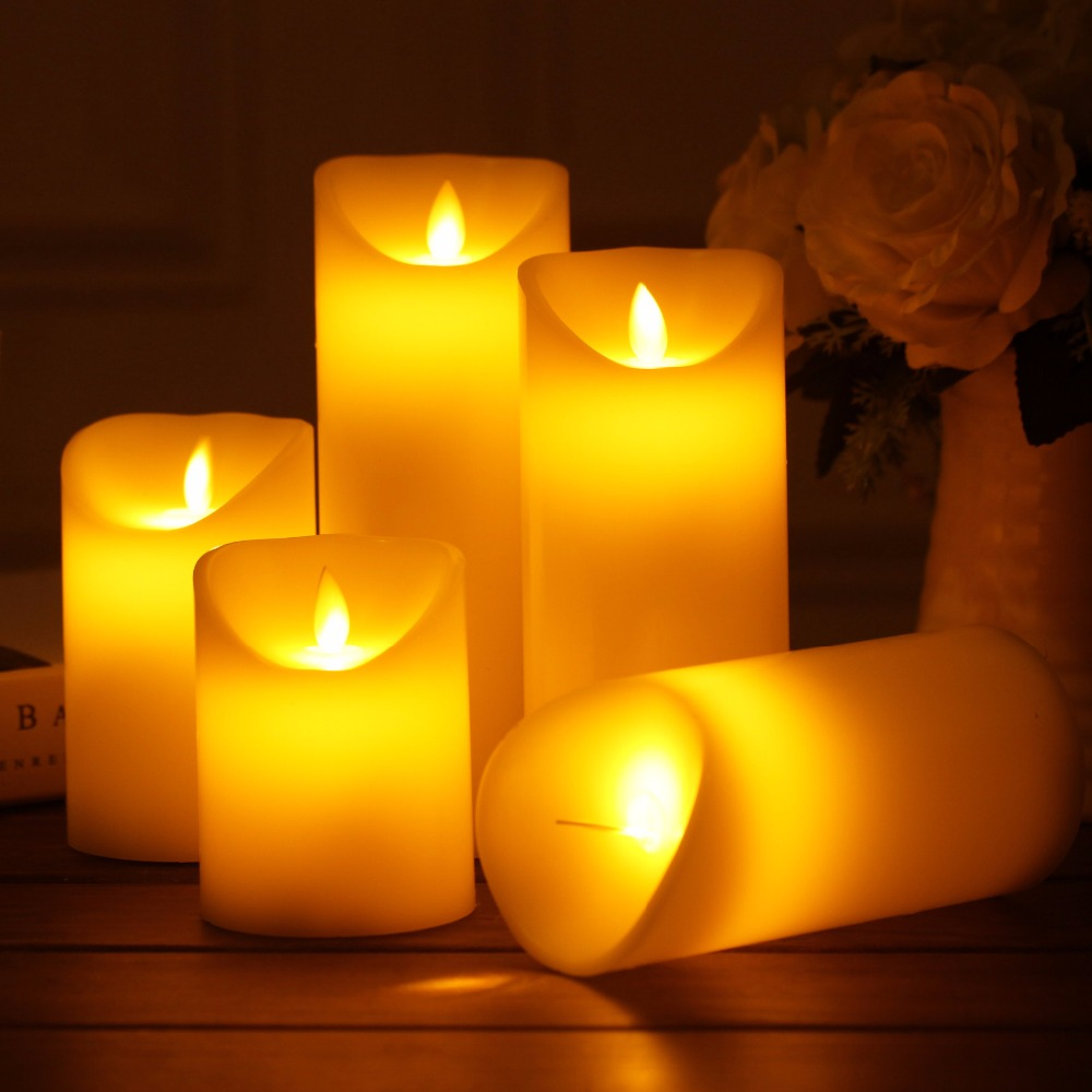 Battery Group Size >> Set Of 3 Different Size Candle Battery Operated Flameless Artificial Flame LED Real Wax Candles ...