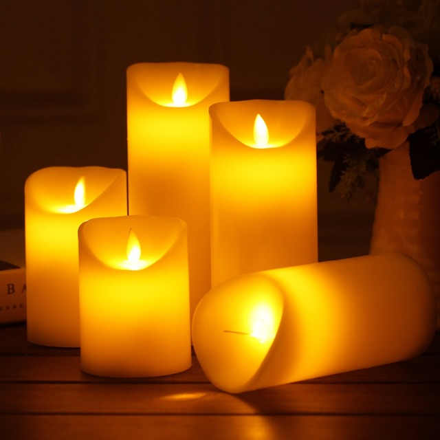 Set of 3 different size candle battery operated flameless for Different brands of candles