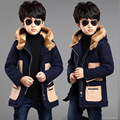 Retail England Style 2017 Boys Fashion Casual Thicken Woollen Jacket baby Kid Patchwork Wadded Tweed Coat Children Overcoat