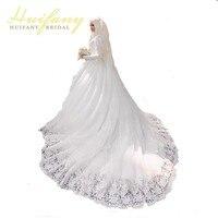 יפה שרוול הארוך חיג 'אב ערבית מוסלמי שמלות כלה עם רעלה תחרה אפליקצית Vestido דה Noiva