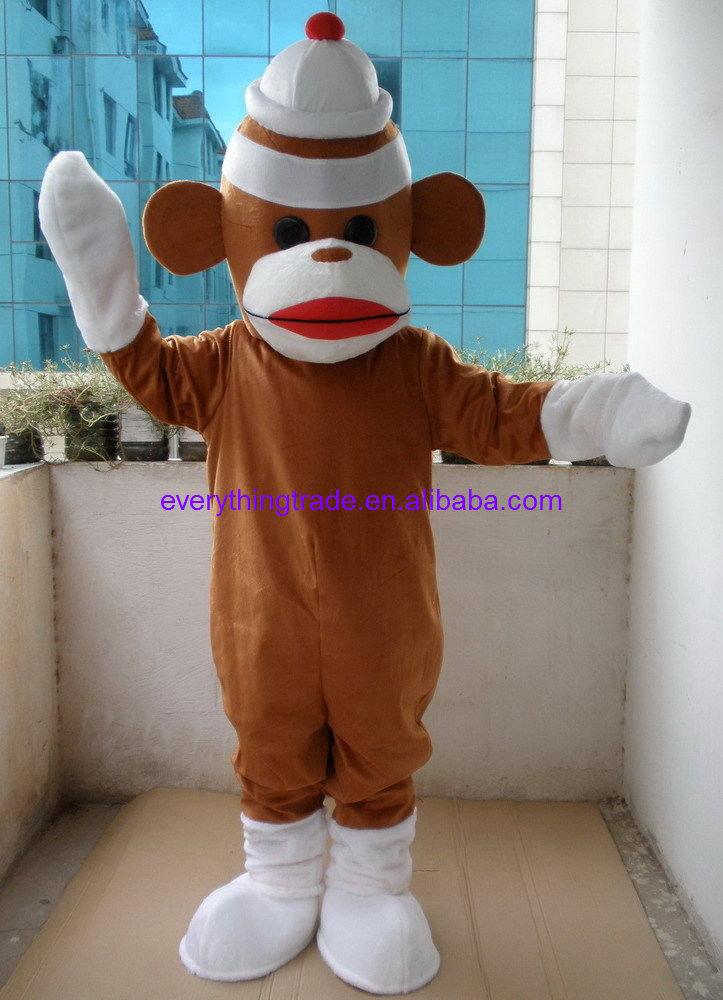 d4ed332c0b1 New arrival 2017 Cartoon Character Professional New Brown Sock Monkey  Mascot Costume Fancy Dress Adult Size
