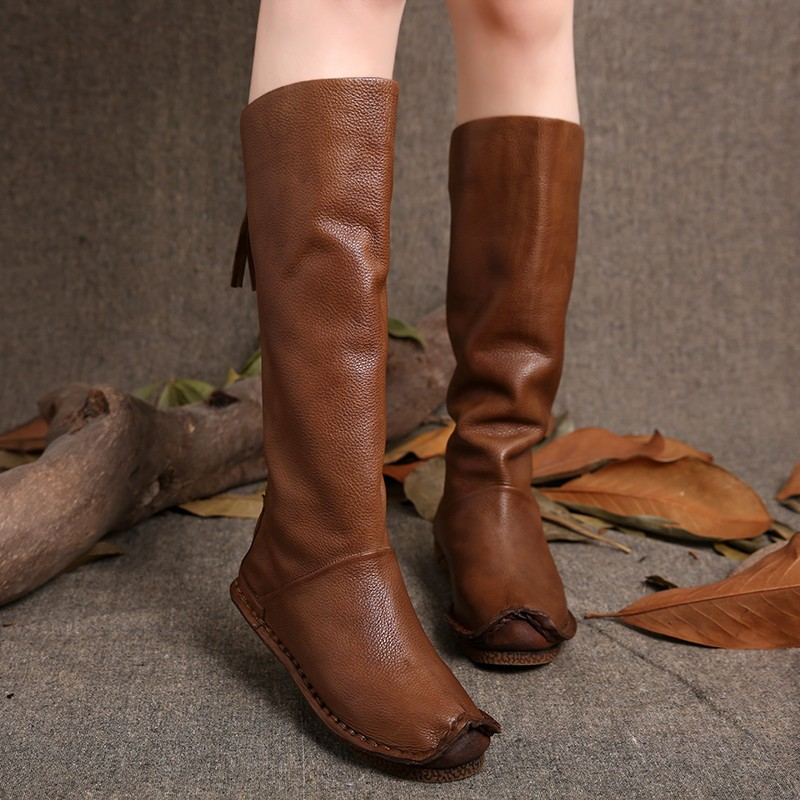 2016 Vintage Style Women Boots Knee High Genuine Leather Back Zip Handmade Shoes High Boots
