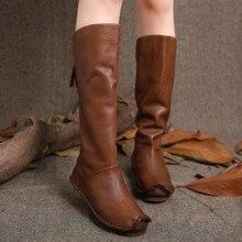 2017 Vintage Mujer Botas Hasta La Rodilla de Cuero Genuino Volver Zip Zapatos Hechos A Mano Botas Altas