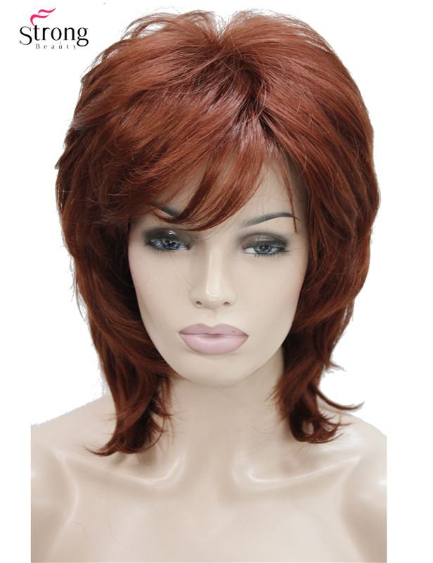 StrongBeauty Short Shaggy Layered Copper Red Classic Cap Full Synthetic Wig Women's Wigs COLOUR CHOICES