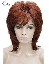 StrongBeauty krótki Shaggy warstwowa miedź czerwony klasyczny czapka pełna peruka syntetyczna peruki damskie wybór kolorów