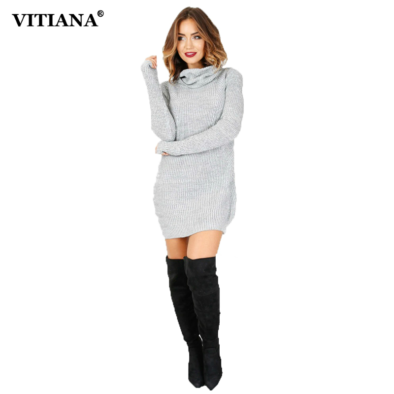 VITIANA Women Sweater Dress Female 2017 Autumn Winter Long Sleeve Turtleneck Pencil Casual Short Dress Elegant Thin Pullover