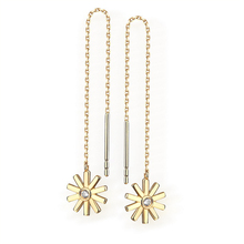 ANI 14k Yellow Gold Women Dangle Earrings Fine Jewelry Elegant Flower Shape Lady Drop Engagement Gold Earrings boucle d oreille a suit of elegant faux gem white gold plating alloy flower shape necklace and earrings for women