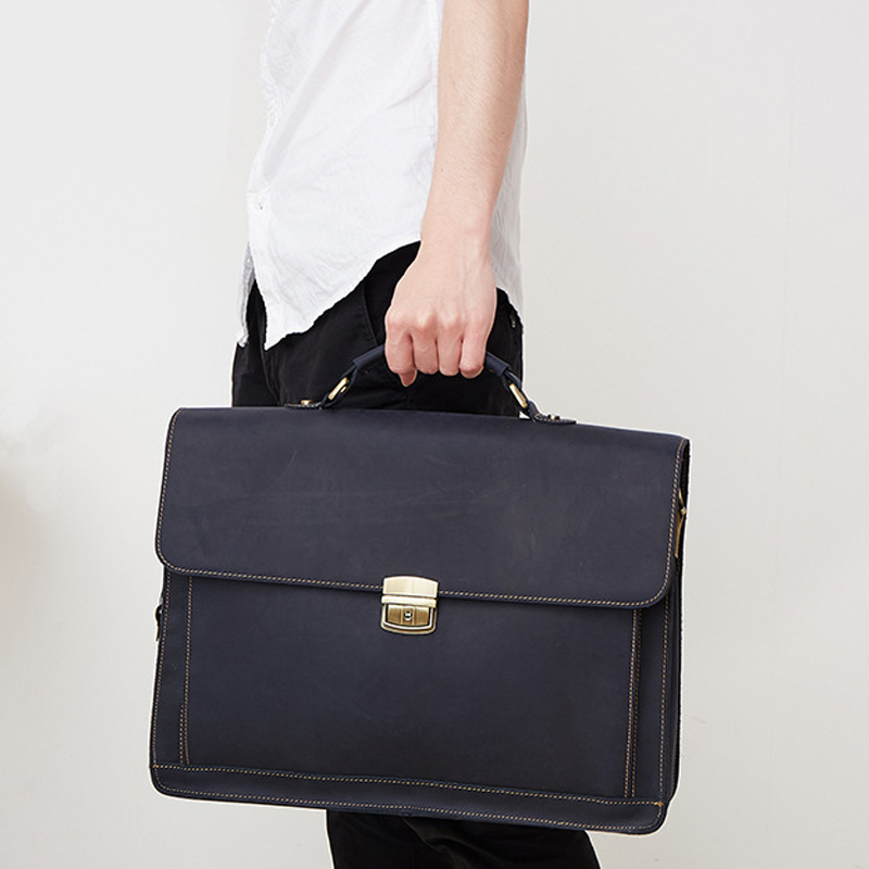 JOYIR Genuine Leather Men's Briefcases Vintage Laptop Bag Business High Quality male handbags Causal shoulder men messenger bags