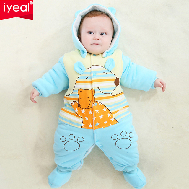87e6744a327 IYEAL Newborn Baby Clothes Girls Boys Winter Romper Brand Thicken Warm  Cartoon Cotton Jumpsuit 0-12 Months Infant Bebe Clothing