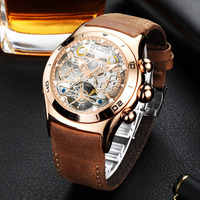 Reef Tiger Mens Sport Watches Waterproof Luxury Rose Gold Skeleton Automatic Watches Tourbillon Leather Strap Watches RGA703