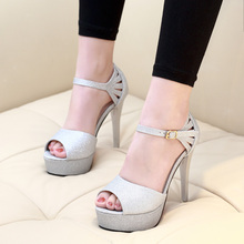 Women Sexy High Heels Sandals Gold Silver Summer Ladies Sandal 2018 New Thin Heel Shoes Female Peep Toe Platform Shoes CH-A0091 sexy high heels women sandal black hollow out rome summer woman shoes peep toe female platform pumps shoes ch b0029