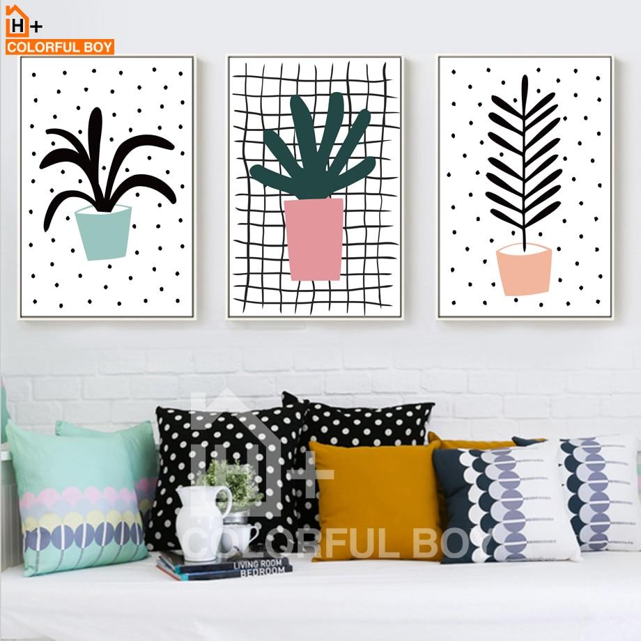 COLORFULBOY Modern Cartoon Bonsai Plant Cuadros decorativos Wall Art - Decoración del hogar