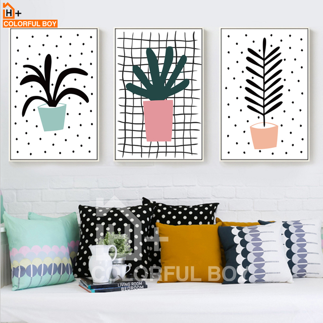 US $3.43 28% OFF|COLORFULBOY Moderne Cartoon Bonsai Pflanze Dekorative  Bilder Kunstdruck Poster Leinwand Malerei Für Wohnzimmer Decor Kein Rahmen  in ...