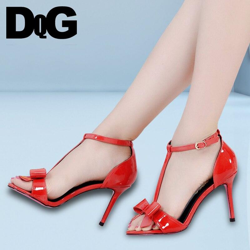 DQG 2018 SUmmer Wedding Ladies Shoes Sexy Dress Women Sandals Solid Buckle Strap Sweet Thin High Heels Sandalias женское платье summer dress 2015cute o women dress