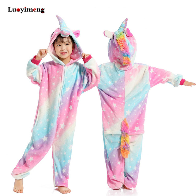 Unisex Kids Star Unicorn Onesies Pajamas Anime Cartoon Flannel Pikachu Children Sleepwear Pyjama For Girl Boy Winter Home Clothe