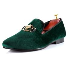 Harpelunde Men Loafer Shoes Green Buckle Casual Shoes Velvet Flats Size 7-14