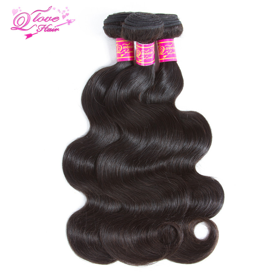 Queen Love Mongolian Hair Body Wave 3/4 Bundles 100% Human Remy Hair Weave Natural Color 8- 26 No Smell