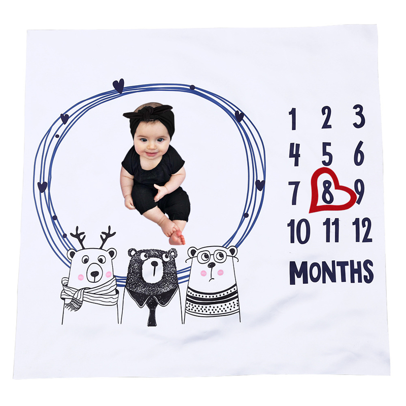 Cute Pattern Play Mat Baby Milestone Photo Commemoration Background Blanket Infant Calendar Age Backdrop Cloth Photo Accessories