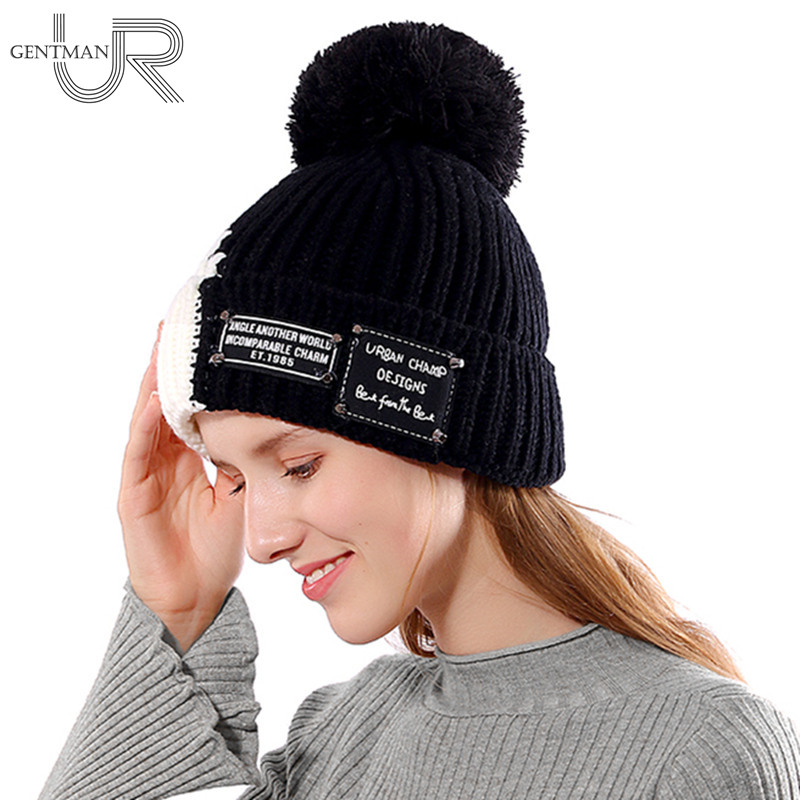 New Warm Winter Hat Female Fashion   Skullies     Beanies   Thick Fur Knitted Hat For Woman Lady Pompom Hats Two-tone Design Bonnet Cap