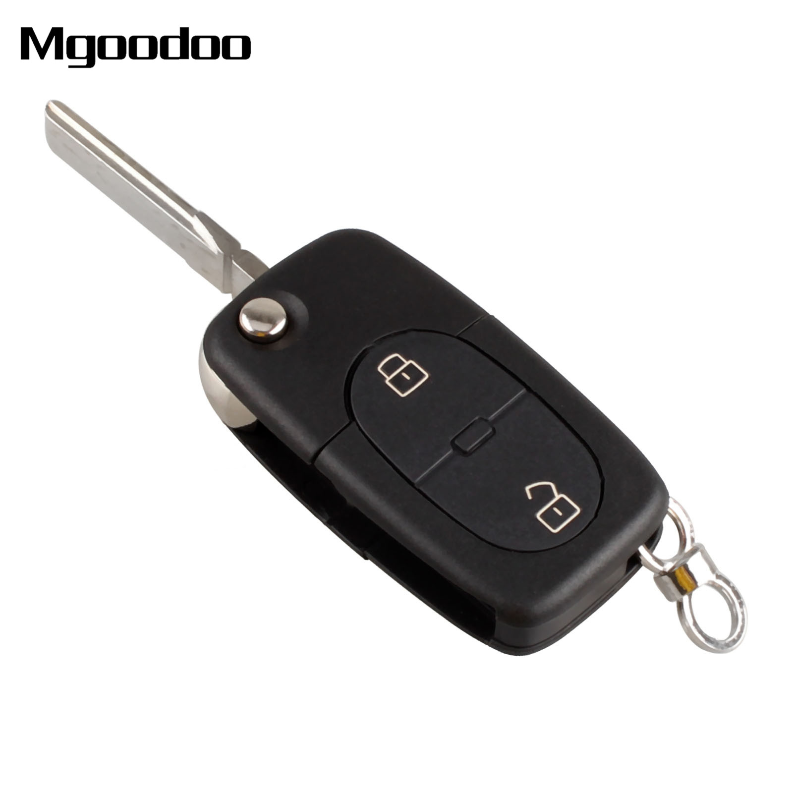 Mgoodoo Flip Folding Remote Key Fob Case 2 Buttons Replacement Car Shell For Audi A2 A3 A4 A6 CR2032 Blank Blade