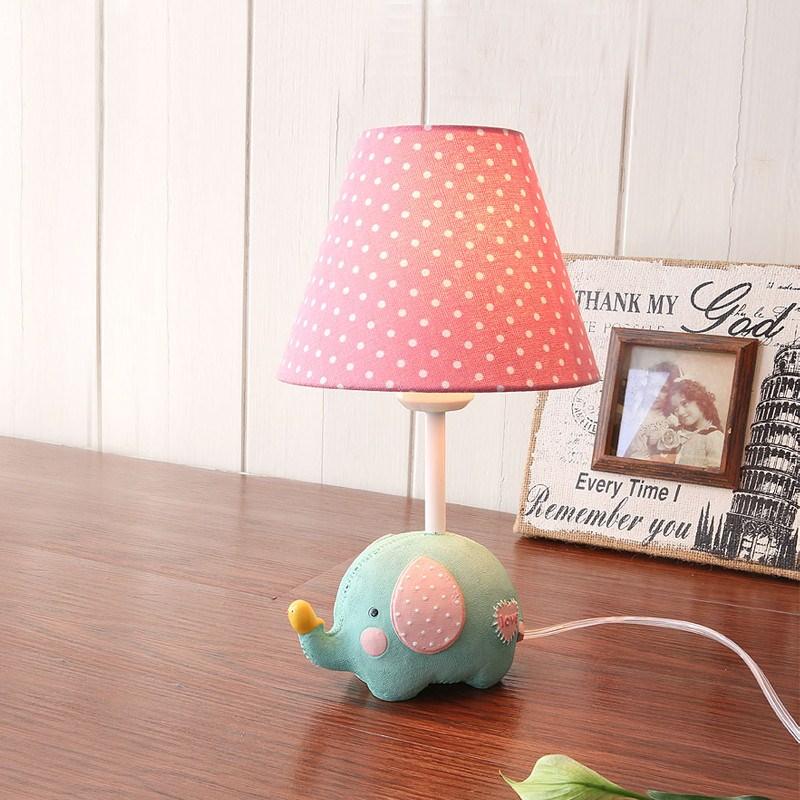 American Pastoral little fresh cartoon elephant desk lamp Boy Girl Bedroom child room European simplified animal lamp