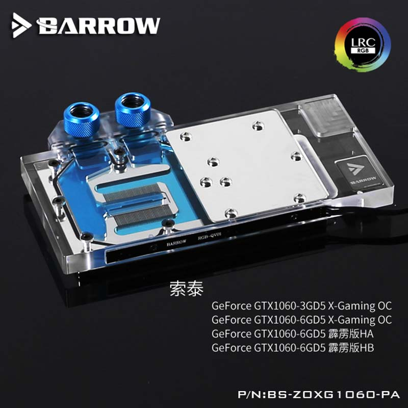 Barrow GPU Water Block for ZOTAC GTX1060 of full coverage LRC2.0 water coolerBarrow GPU Water Block for ZOTAC GTX1060 of full coverage LRC2.0 water cooler