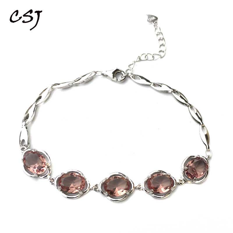 CSJ Zultanite Bracelet Sterling 925 Silver Oval6 8mm Cut Created Sultanite Color Chance Fine Jewelry Women