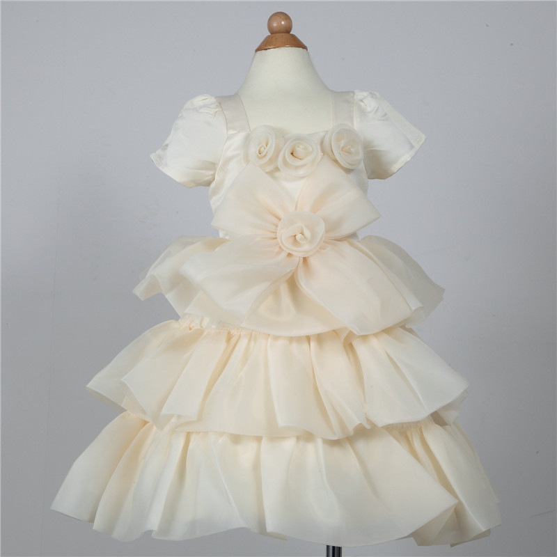 Top Quality 2017 New Girl Yellow Summer Dress Elegant Chiffon Cute Short Sleeve Girl Princess Vestidos Girls Clothes SKD164045 cute bird chiffon top