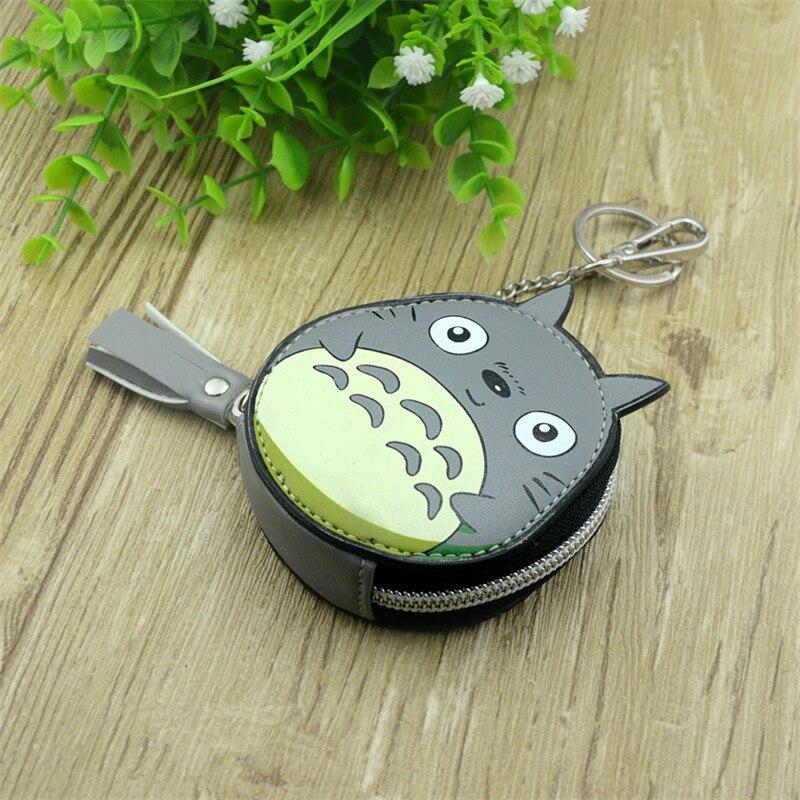 Boys Girls Cartoon Anime My Neighbor Totoro Gray White Round Designer Coin Purse PU Bag With Key Chain