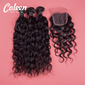 Brazilian Natural Wave Lace Closure Tangle Free Brazilian Virgin Hair 3 Bundles With Lace Closure Remy Human Hair Lace Closures