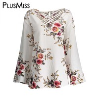 Plus Size 5XL Sexy Floral Print Hollow Out Tops Women Long Sleeve Chiffon Lace Up Blouse Shirt Autumn 2017 Elegant Blusas
