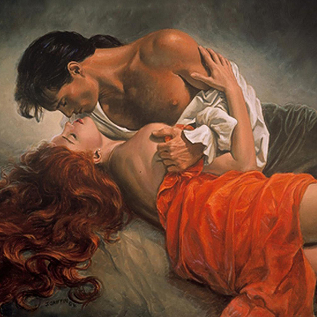 Couple passionate kiss in the bedroom diy painting by - Sensual paintings for the bedroom ...