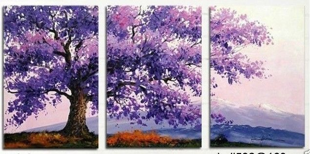 hand painted stretched framed oil wall art Purple hill flower tree ...