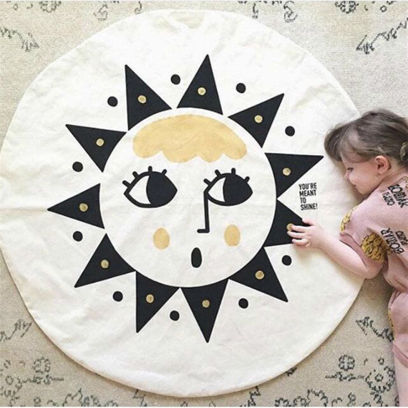 95cm Sun face printed Baby Play Mats Game Crawling Blanket Cotton Bedding Sleeping Blank ...