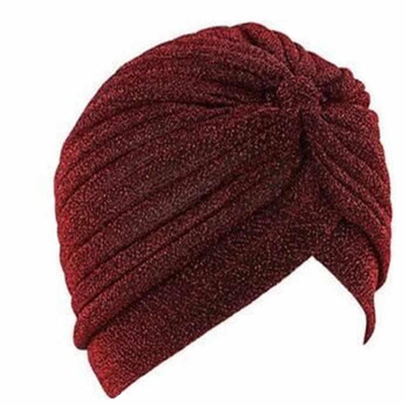 Più nuovo Modo Splendido Oro Tappo Turbante Pianura Lucido Shimmer Glitter Sparkly Cappelli Hijab Musulmano Per Le Donne e Gli Uomini Indiani F0245