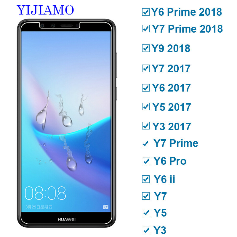 2.5D Tempered Glass On The For Huawei Y3 Y5 Y6 Y7 Y9 Prime Screen Protector Huawey Y 3 5 6 7 9 Y6ii pro 9H Protective Film Glass(China)