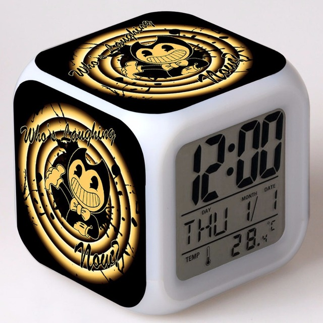 Free Drop Shipping Bendy And The Ink Machine Colorful Mood Led Color Change Alarm Clock Kids