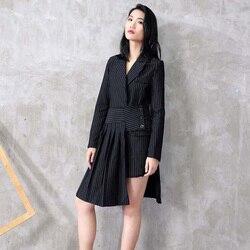 [EAM] 2020 New Spring Lapel Long Sleeve Black Striped Loose Half-body Irregular Skirt Two Piece Suit Women Fashion JC507