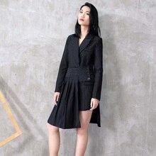 [EAM] Falda holgada de medio cuerpo para mujer, traje de dos piezas con solapa, manga larga y rayas negras, a la moda, JC507, 2020