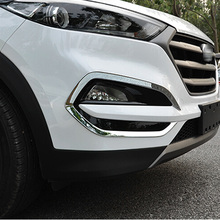 For Hyundai Tucson 2015 2016  ABS Chrome Front Fog light Lamp Cover Trim Foglight Lamp Shade Frame Foglight Bezel Decorations