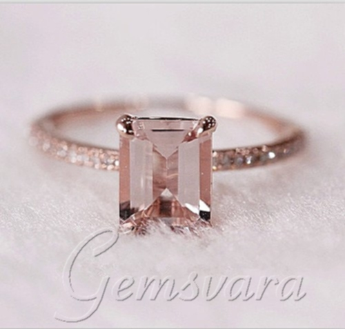 VS 6x8mm Emerald Cut Morganite H SI Diamond Claw Prongs 14K Rose
