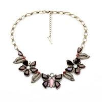 Resin Glass Zinc Alloy Butterfly Pendant Jewelry Exquisite Korean Sweater Match Choker Necklace