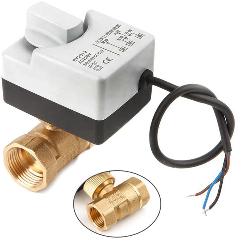 Ac220V 2 voies 3 fils motorisé vanne à boisseau sphérique actionneur électrique avec interrupteur manuel